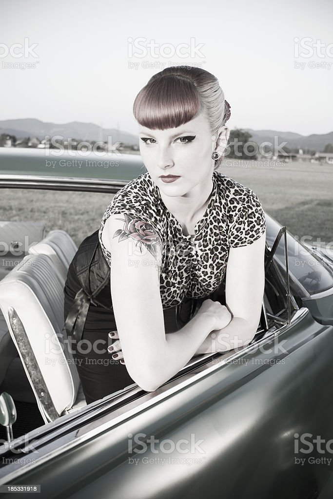sexy pin up with her car royalty-free stock photo