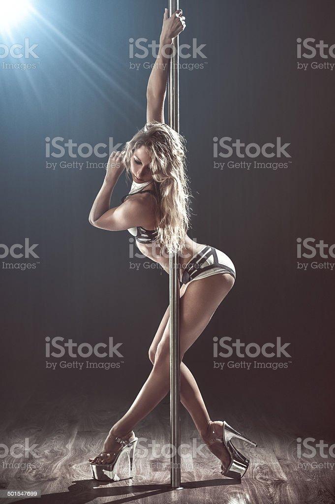 sexy pole dancer stock photo