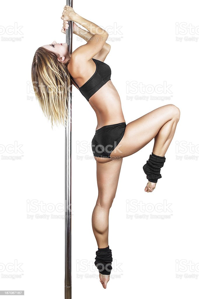 Sexy pole dancer practice royalty-free stock photo