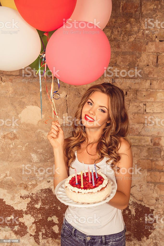 Sexy Pretty Girl Holding Birthday Cake And Balloons Stock