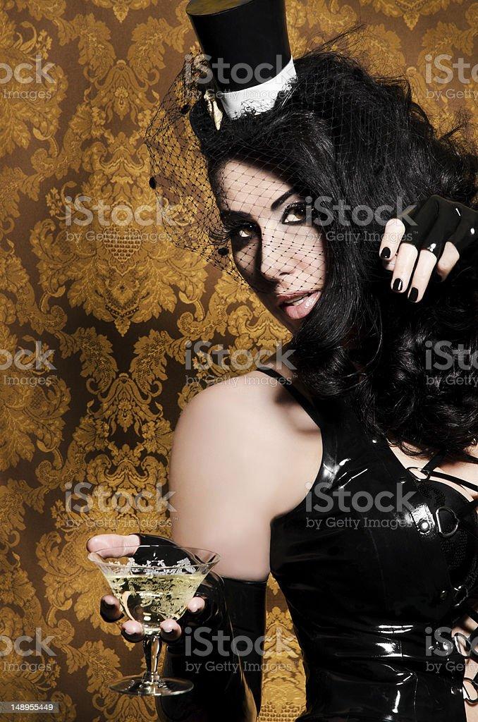 Sexy Retro Cabaret - Glamorous Vixen with Vintage Glass royalty-free stock photo