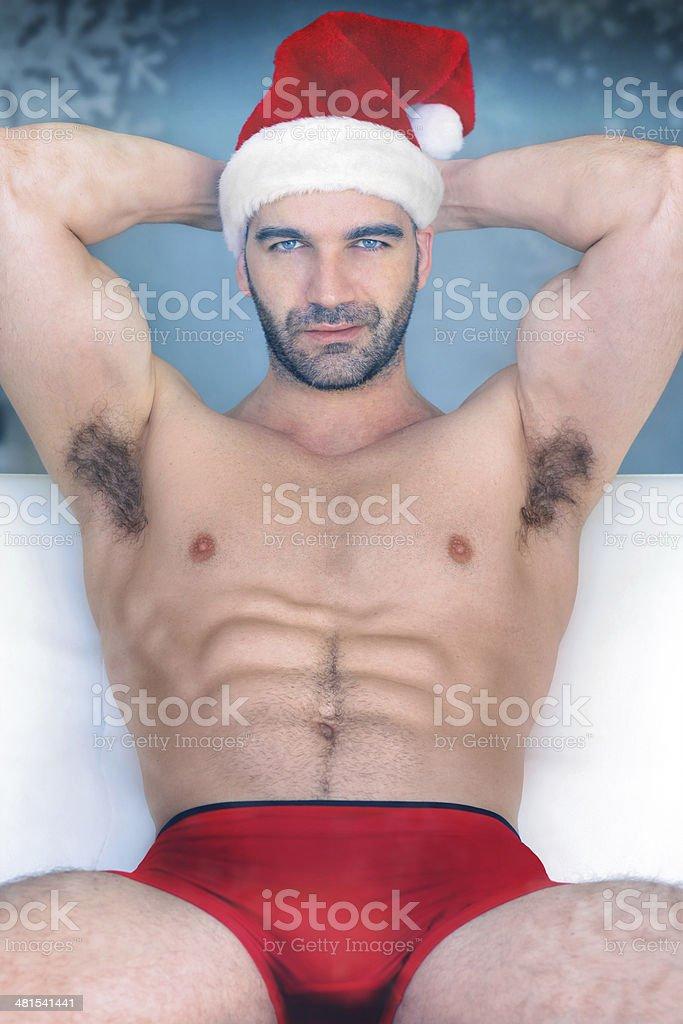 Sexy santa man hunk royalty-free stock photo