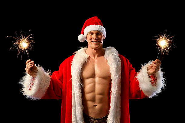 sexy santa - naked santa claus stock pictures, royalty-free photos & images