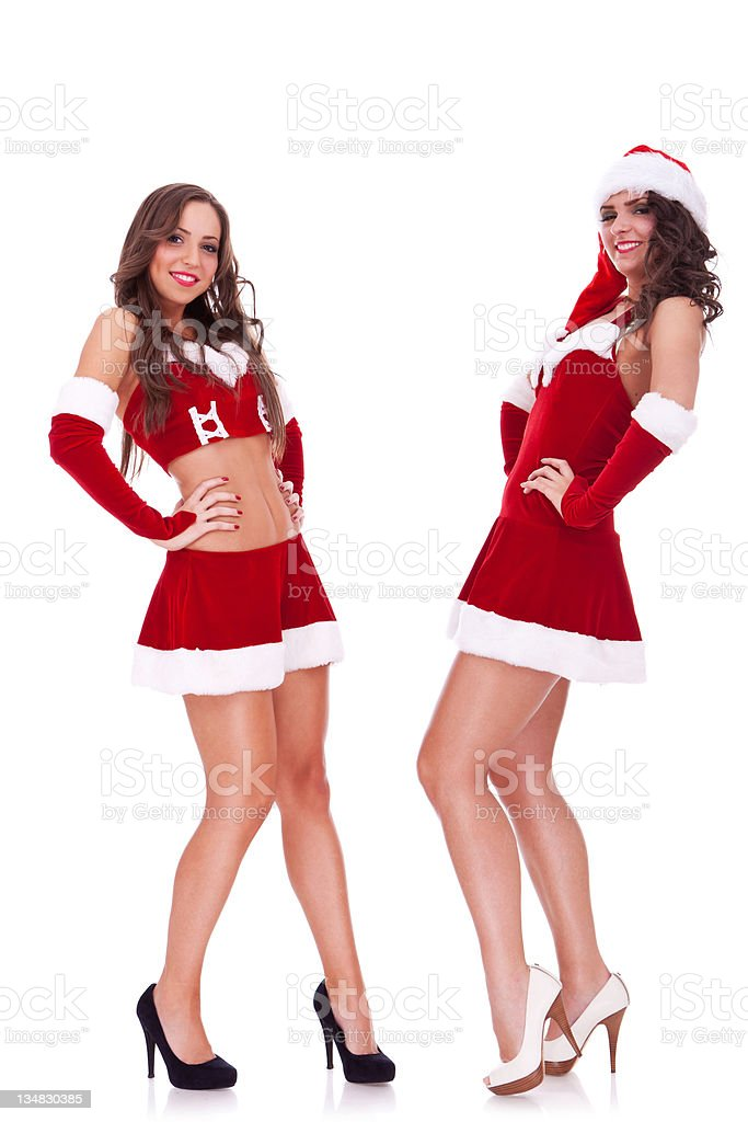 sexy santa women posing stock photo