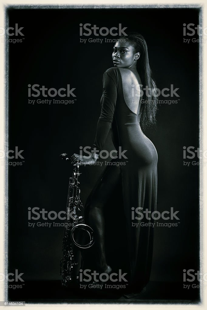 Sexy Sax Lady stock photo