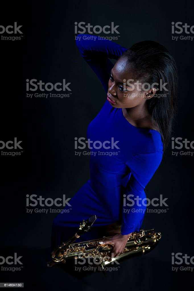 Sexy Sax Player stock photo