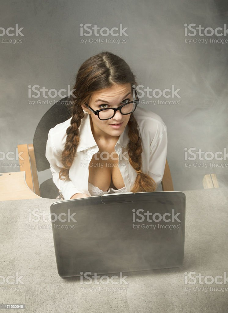 sexy secretary sitting with bra out stock photo