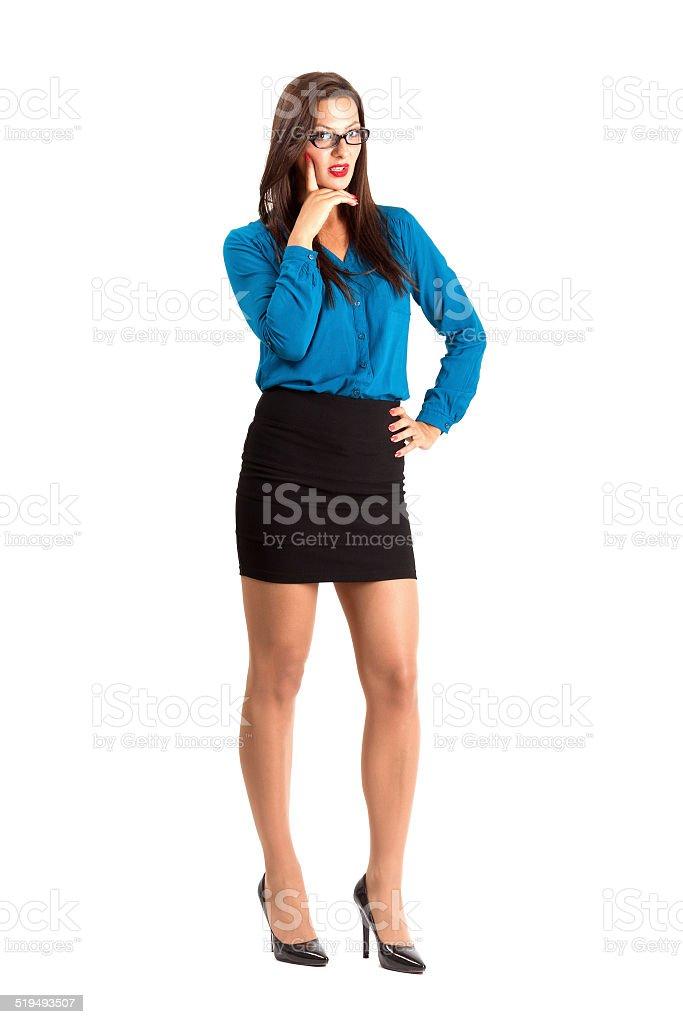 Sexy Sekretärin Mit Brille Der Blick In Die Kamera Stock-Fotografie ...
