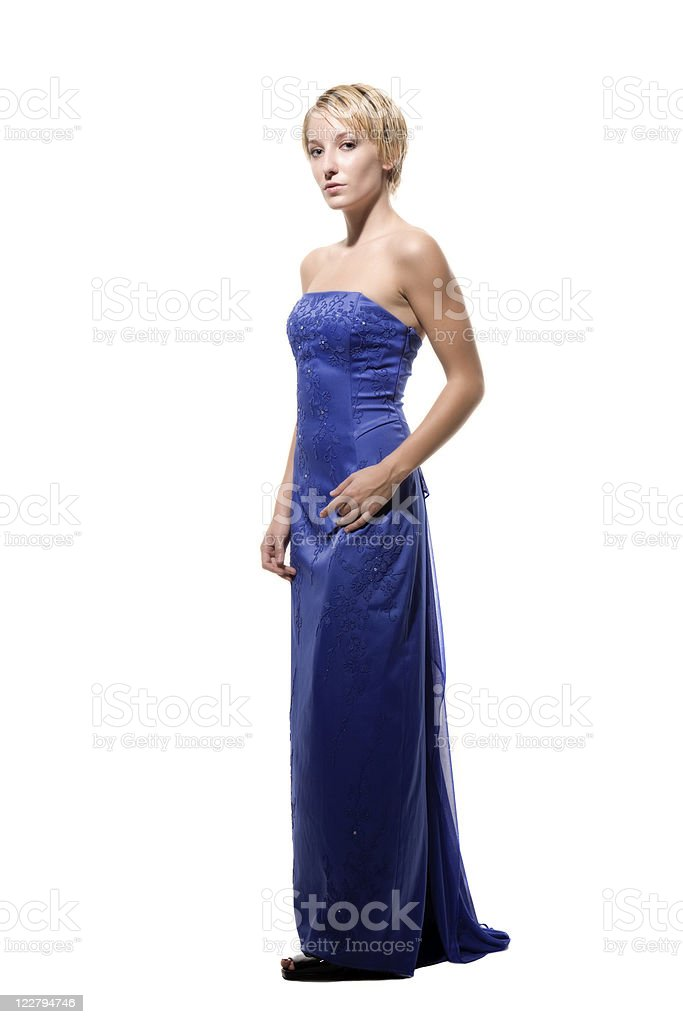 Sexy De Pelo Corto Rubia En Vestido Morado Foto De Stock Y