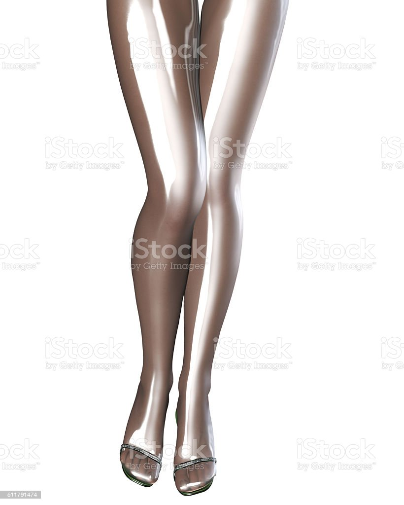 Sexy slim female legs in latex pantyhose. stock photo
