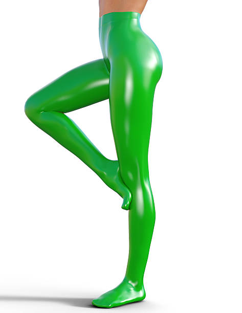 Sexy slim female legs in latex pantyhose. stock photo