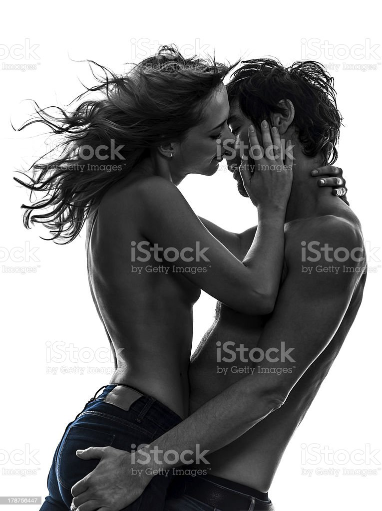 sexy stylish couple lovers topless silhouette royalty-free stock photo