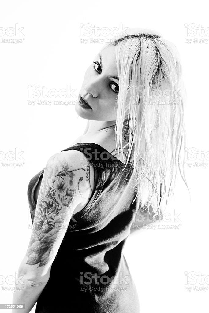 Sexy tattooed woman on white royalty-free stock photo