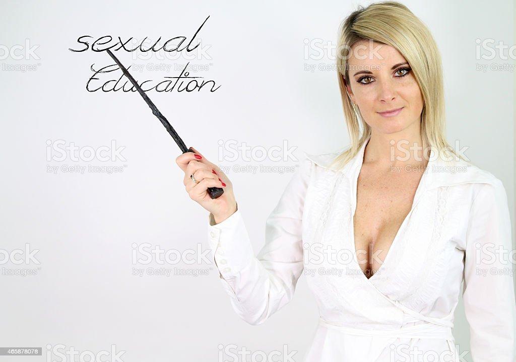 sexy teacher teaching sex education stock photo