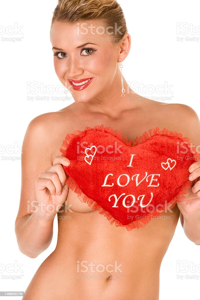 Sexy topless blond with - I love you,  slogan royalty-free stock photo