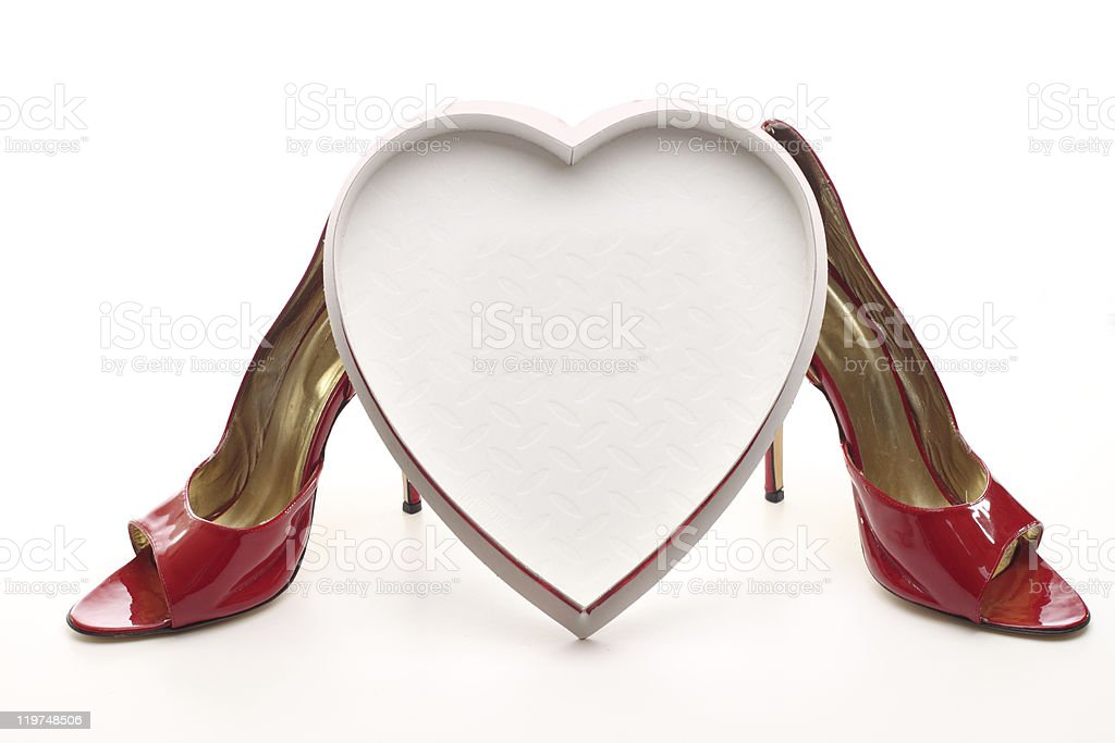 sexy valentine heart shaped box with high heels royalty-free stock photo