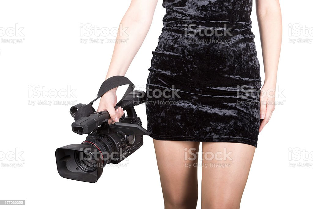 Sexy videographer royalty-free stock photo