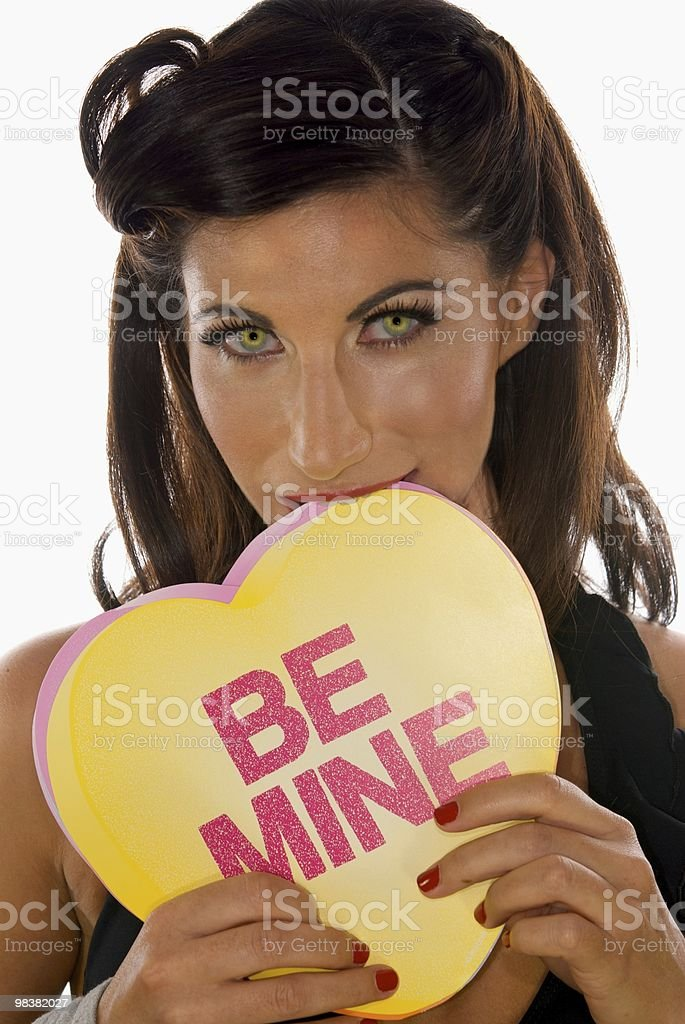 Sexy Woman Biting Be Mine Card royalty-free stock photo