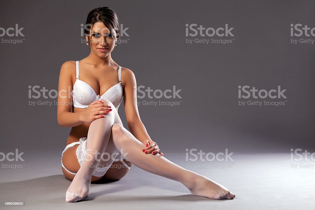 Sexy woman body in white lingerie stock photo