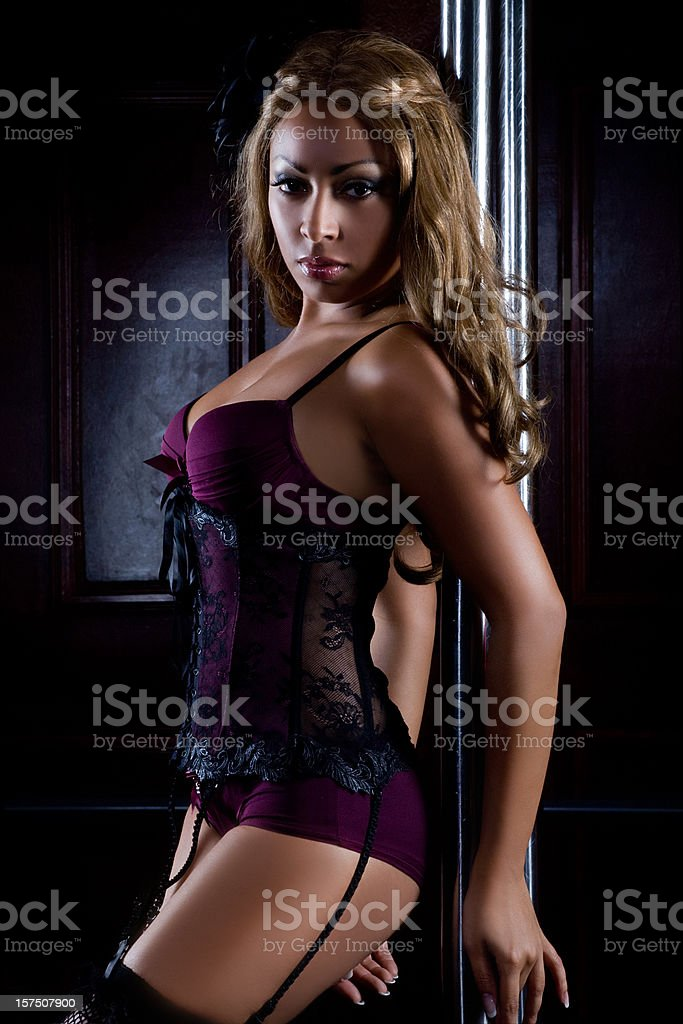 sexy woman dancing striptease stock photo