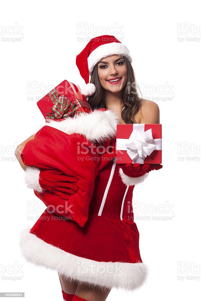 Immagini Natale Donne.Sexy Donna Dando Sacco Di Regali Di Natale A Santa Claus