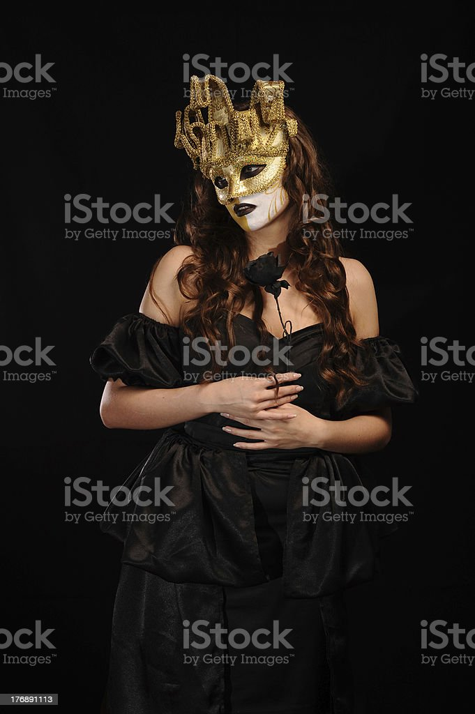 sexy woman hold black rose royalty-free stock photo