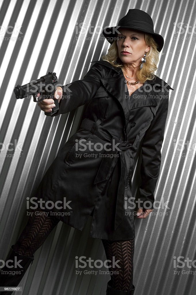 Sexy Woman Holding Gun royalty-free stock photo