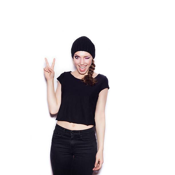 Sexy woman in black clothes having fun stock photo