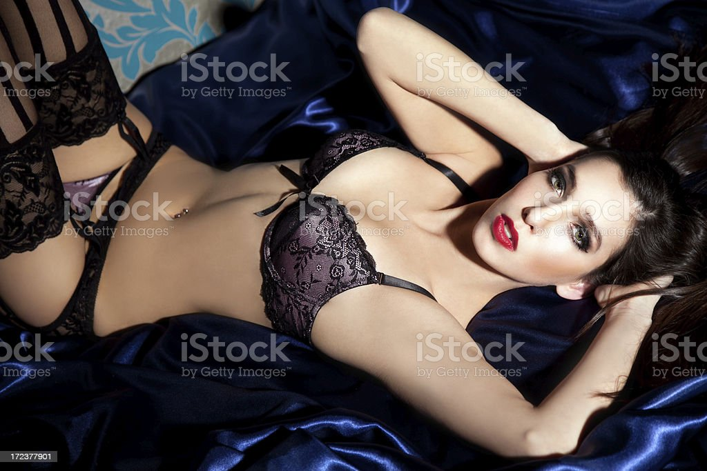 Sexy Woman in Black Lace Lingerie stock photo