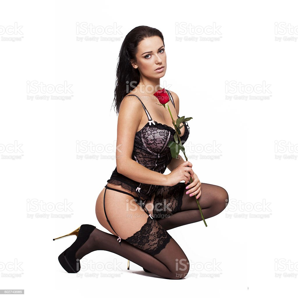 Sexy Woman In Corset And Stockings Kneeling With Rose Stock Photo Download Image Now Istock