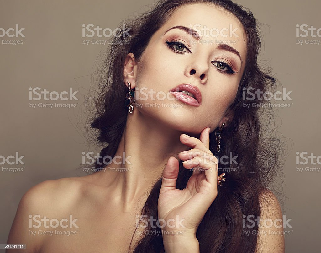 stock beautiful concept beauty image woman with bracelet jewelery pearl and expensive luxury earrings