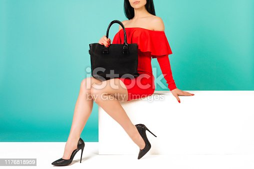 istock Sexy woman in high heels with black handbag on a blue background. 1176818959
