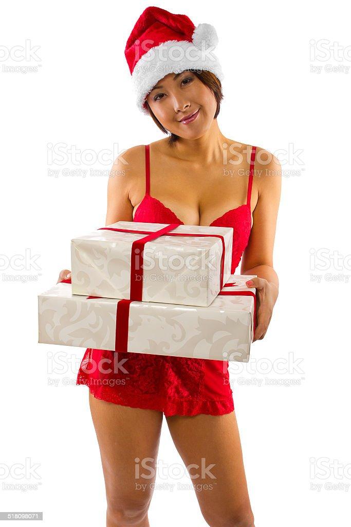 52a5e15fa Mulher Sexy em Lingerie com uma surpresa de presente de natal foto  royalty-free