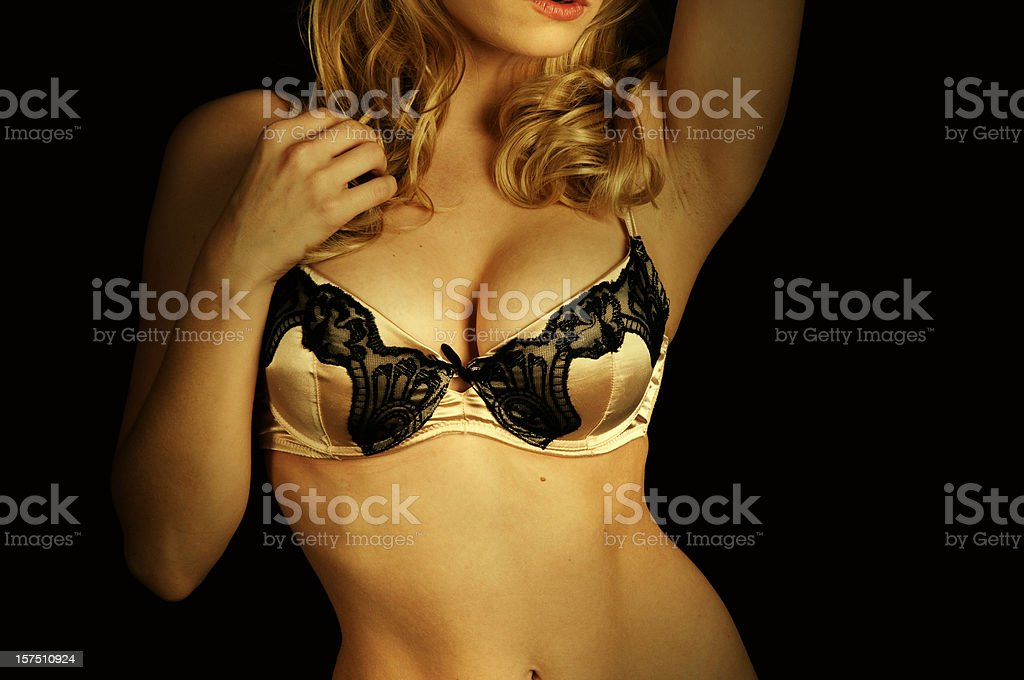 Sexy Woman in Lingerie with Gold Tone royalty-free stock photo