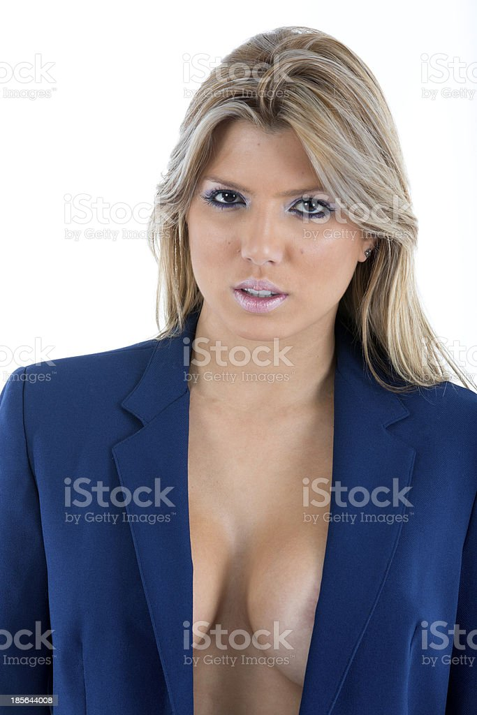 Sexy Woman in only a Business Suit Jacket stock photo