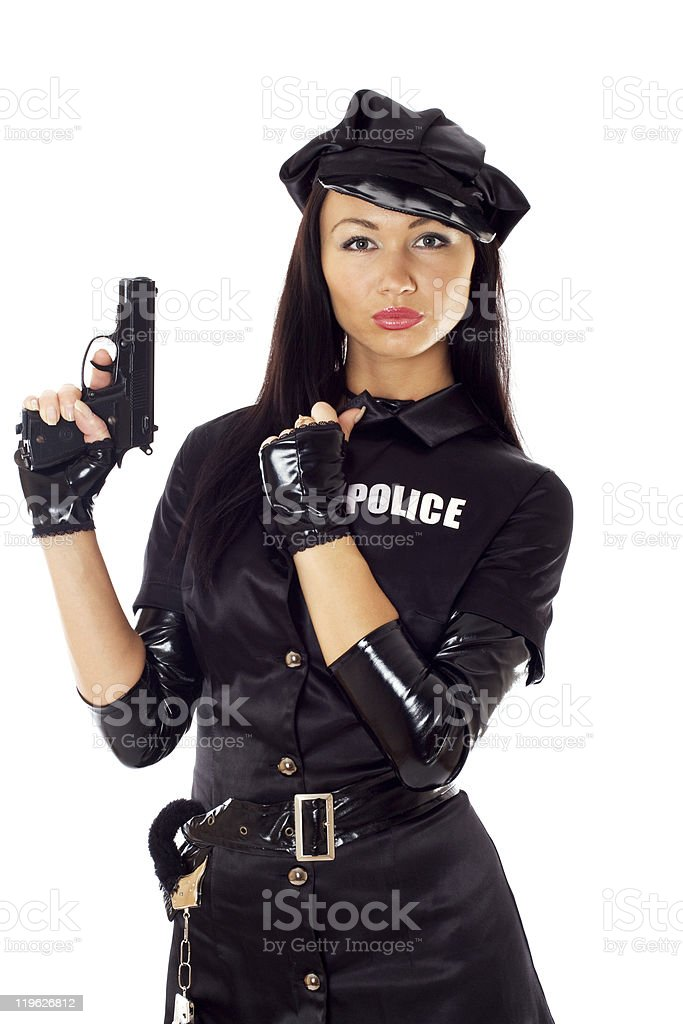 Sexy woman in police uniform. stock photo