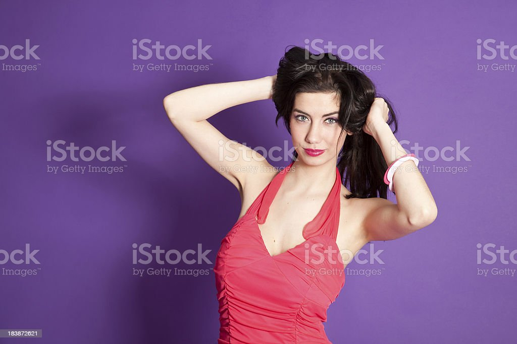 Sexy woman in red dress stock photo