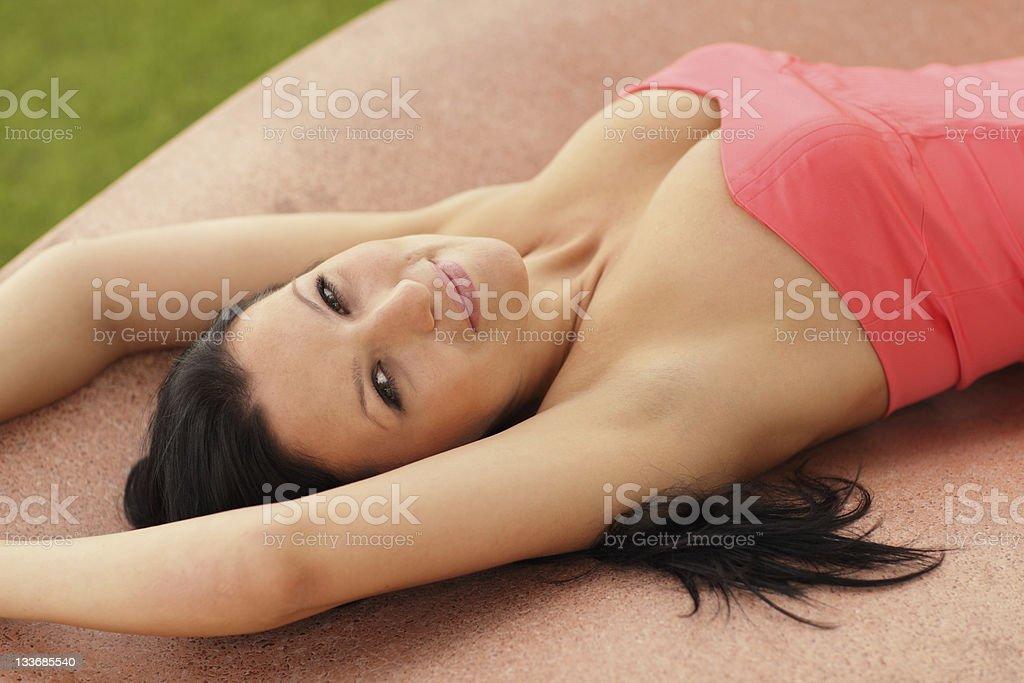 Sexy woman laying down stock photo