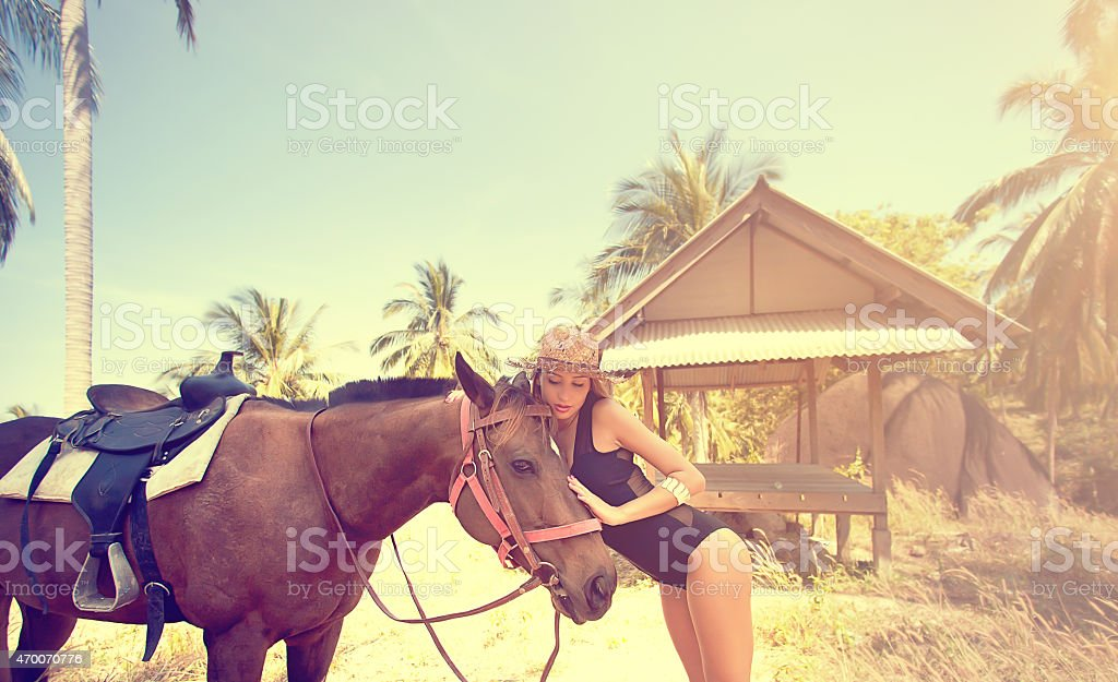 Sexy woman loves brown horse stock photo