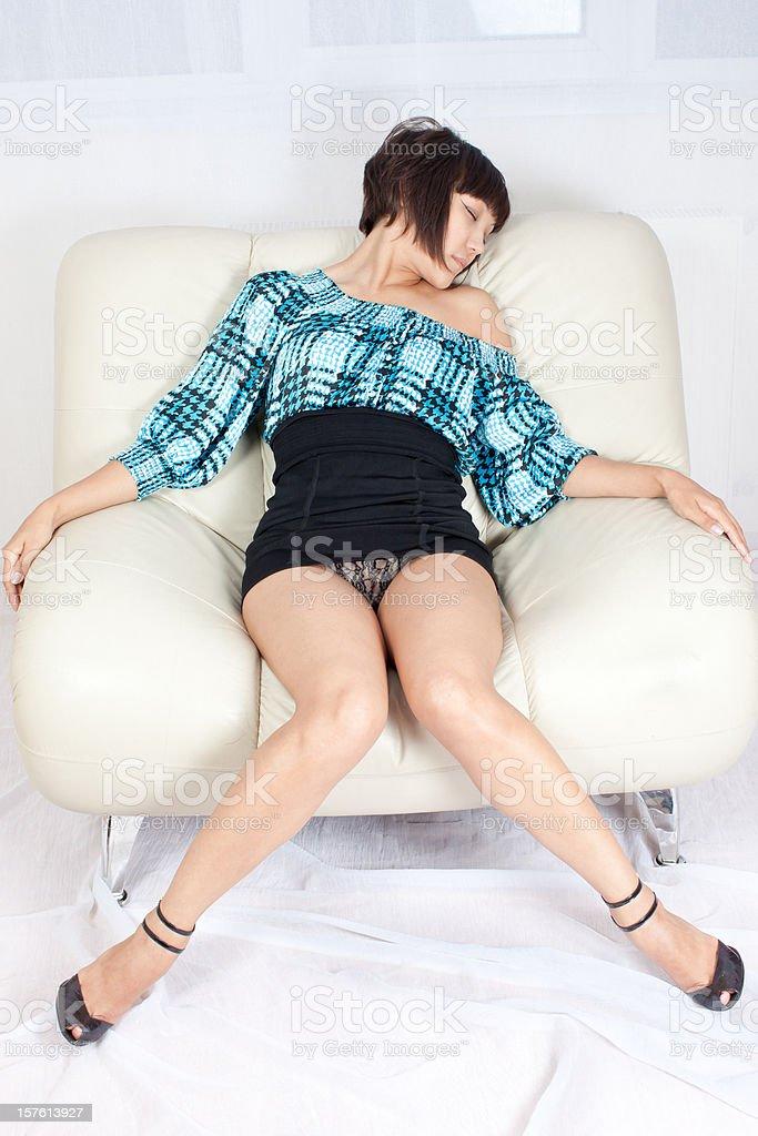 Sexy woman: mini black skirt stock photo