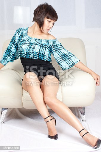 istock Sexy woman: mini black skirt 182844666