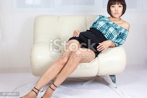 istock Sexy woman: mini black skirt 471262311