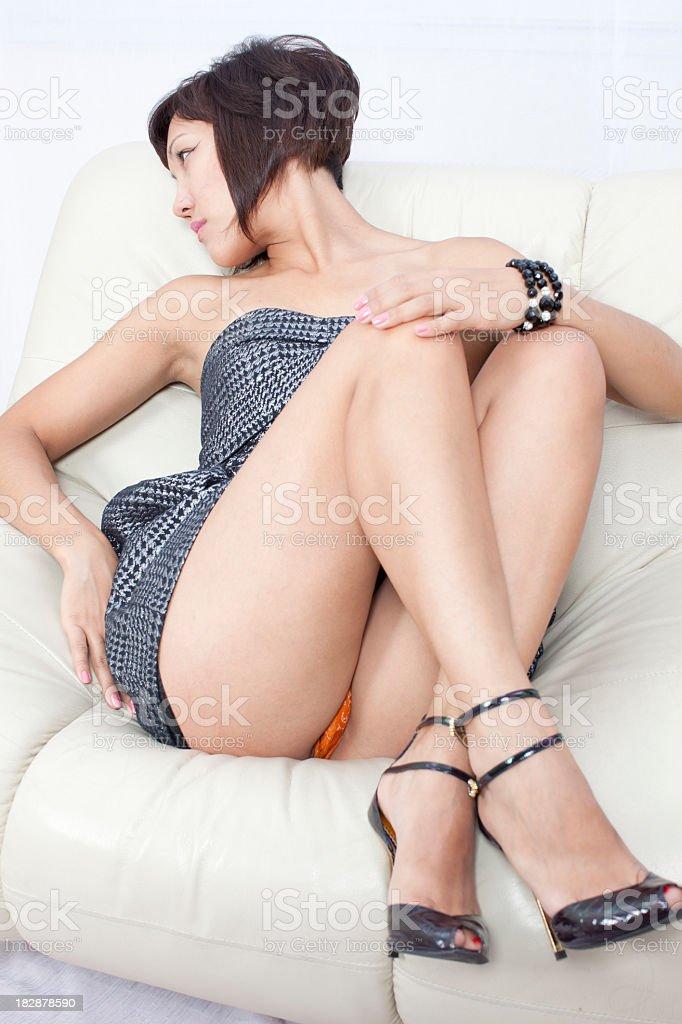 Sexy woman: mini dress stock photo