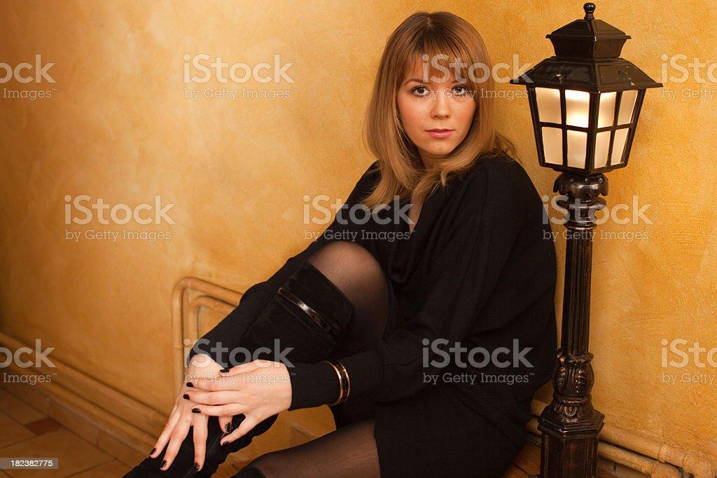 Sexy Woman near the street Lamp stock photo