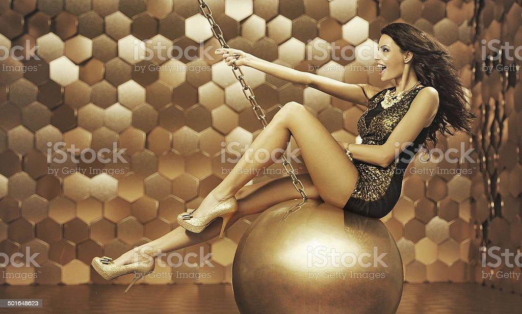 Sexy woman on a big ball