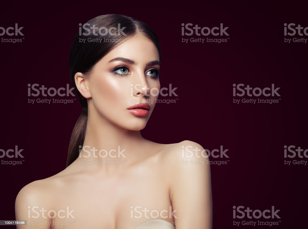 Fashion Model With Perfect Makeup And Nacked Shoulder Stock Photo