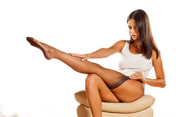 sexy woman - black women wearing pantyhose stock photos and pictures