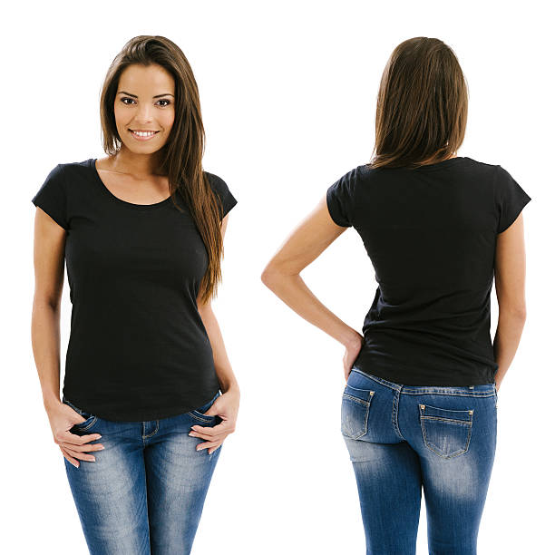 sexy woman posing with blank black shirt - t shirt stock photos and pictures