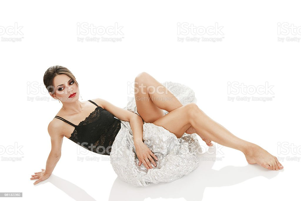 Sexy woman sitting on floor royalty-free stock photo