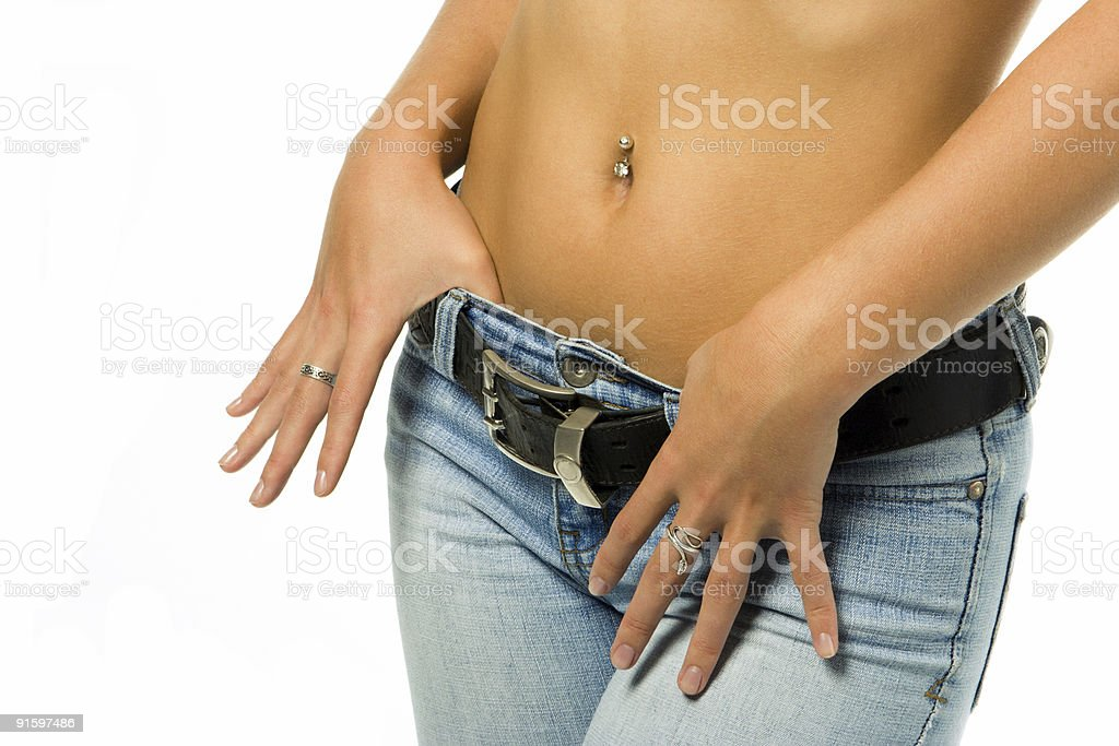 sexy  woman tan belly in jeans with belt royalty-free stock photo
